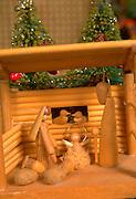 Wooden Christmas Nativity scene. St Paul Minnesota USA