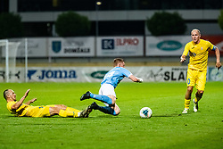 Tonci Mujan of NK Domzale and Anders Christiansen of Malmo FF during Football match between NK Domzale and Malmo FF in Second Qualifying match of UEFA Europa League 2019/2020, on July 25th, 2019 in Sports park Domzale, Domzale, Slovenia. Photo by Grega Valancic / Sportida