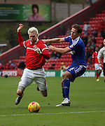 Charlton Athletic striker Simon Makienok trying to wing a foul during the Sky Bet Championship match between Charlton Athletic and Ipswich Town at The Valley, London, England on 28 November 2015. Photo by Matthew Redman.