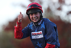 Bryony Frost winner of the Ryman Stationary Cheltenham Business Cub Novices' Steeplechase during day one of the Showcase at Cheltenham Racecourse