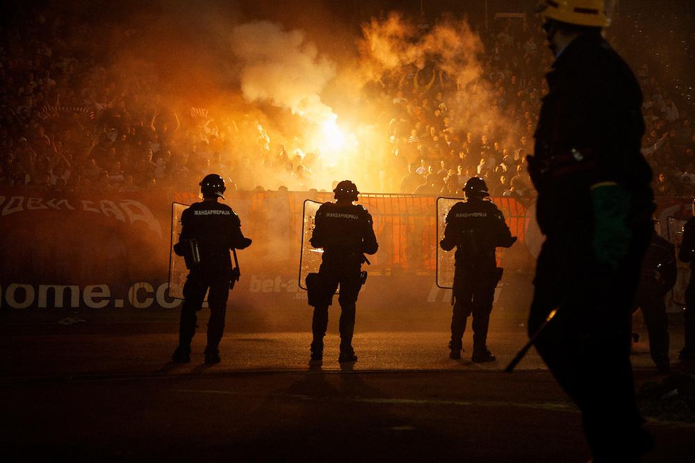 Partizan versus Red Star (Crvena Zvezda), Belgrade, Serbia.