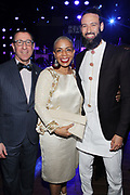15 MAY-BROOKLYN, NEW YORK- (L-R) Adam Max, BAM, Board Chair, New York City Council Member Laurie Cumbo and James Bartlett, Executive Director, MoCada attend the BAM Gala 2019 Inside held at the Brooklyn Expo Center on May 15, 2019 in the Green Point section of Brooklyn, New York City.  (Photo by Terrence Jennings/terrencejennings.com)