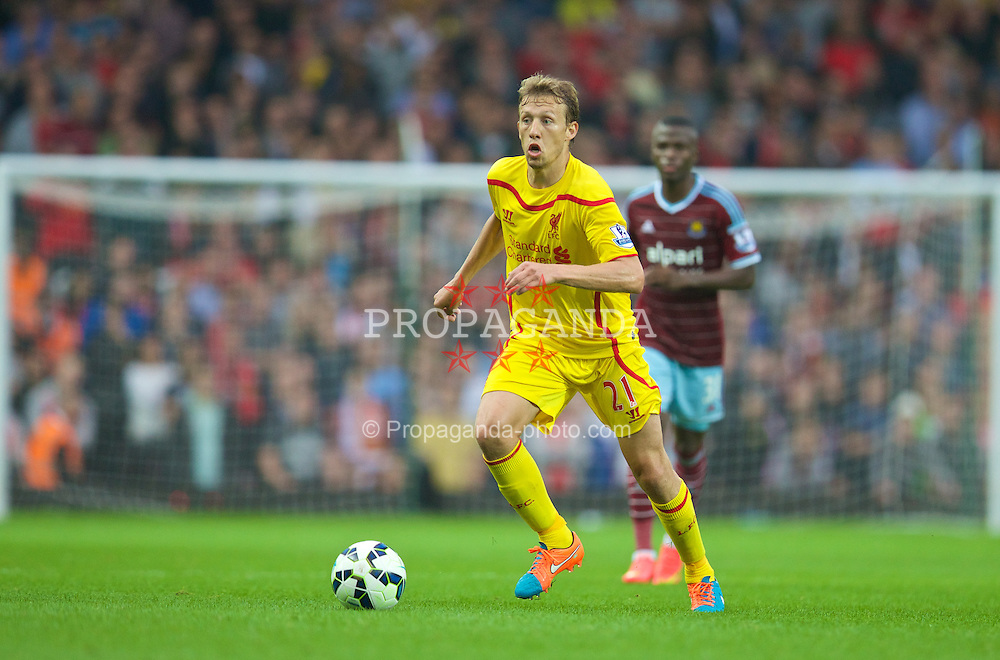 LONDON, ENGLAND - Saturday, September 20, 2014: Liverpool's Lucas Leiva in action against West Ham United during the Premier League match at Upton Park. (Pic by David Rawcliffe/Propaganda)