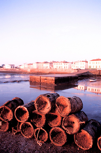Lobster pots and waterfront town on the Ile de Re on the Atlantic Coast of France