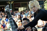GABEZ, street performers from Japan, performing at the 2013 Fremantle Street Art Festival, Western Australia