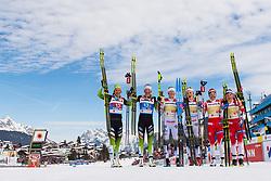 February 24, 2019 - Seefeld In Tirol, AUSTRIA - 190224 Katja Visnar and Anamarija Lampic of Slovenia, Maja Dahlqvist and Stina Nilsson of Sweden, and, Ingvild Flugstad Østberg and Maiken Caspersen Falla of Norway celebrate after the women's team sprint final during the FIS Nordic World Ski Championships on February 24, 2019 in Seefeld in Tirol..Photo: Joel Marklund / BILDBYRÃ…N / kod JM / 87888 (Credit Image: © Joel Marklund/Bildbyran via ZUMA Press)