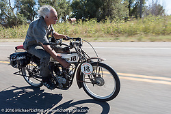 Doug Feinsod of California riding his 1913 Thor through the eastern plains of Colorado during the Motorcycle Cannonball Race of the Century. Stage-9 Dodge City, KS to Pueblo, CO. USA. Monday September 19, 2016. Photography ©2016 Michael Lichter