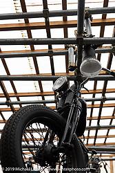 Hanging from the roof at Yuichi Yoshizawa and Yoshikazu Ueda's Custom Works Zon shop in Shiga, Japan. Thursday, December 6, 2018. Photography ©2018 Michael Lichter.