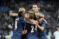 FOOTBALL - UEFA CHAMPIONS LEAGUE 2012/2013 - GROUP STAGE - GROUP A - PARIS SAINT GERMAIN v DYNAMO KIEV - 18/09/2012 - PHOTO JEAN MARIE HERVIO / REGAMEDIA / DPPI - JOY THIAGO SILVA (PSG) AFTER HIS GOAL WITH TEAM MATES