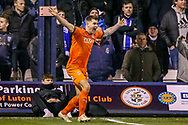 Luton Town forward James Collins (19) appeals for a corner during the The FA Cup 3rd round replay match between Luton Town and Sheffield Wednesday at Kenilworth Road, Luton, England on 15 January 2019.