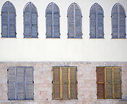 Israel, Jaffa wooden blinds on closed windows