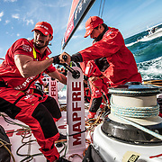 Leg 4, Melbourne to Hong Kong, day 01 on board MAPFRE, Leg start, Louis Sinclair and Guillermo Altadil grinding. Photo by Ugo Fonolla/Volvo Ocean Race. 02 January, 2018.