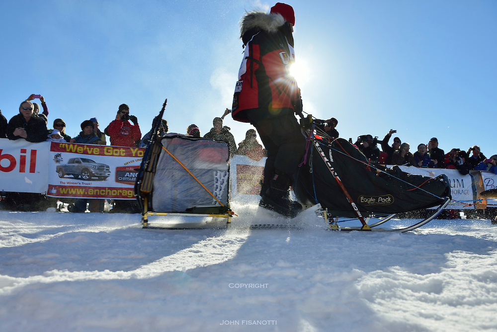 Aliy Zirkle in Willow, would go on to finish in 2nd place for the third year in a row.  2014 Iditarod race.