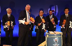 during the pre Rugby World Cup Japan 2019 reception held at the Hyatt Regency hotel on the eve of the Rugby World Cup Japan 2019 Pool Draw, on May 9, 2017 in Kyoto, Japan. The Rugby World Cup Japan 2019 takes place on May 10, in Kyoto, Japan. Photo by Dave Rogers - World Rugby/PARSPIX/ABACAPRESS.COM