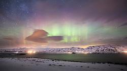 Northern lights over Hvalfjörður, Iceland. 06/01/16. Photo by Andrew Tallon
