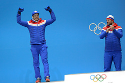 February 15, 2018 - Pyeongchang, South Korea - KJETIL JANSRUD of Norway celebrates getting the  silver medal from the Men's downhill event in the PyeongChang Olympic games. (Credit Image: © Christopher Levy via ZUMA Wire)