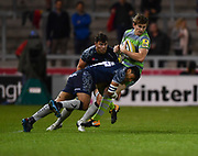 Sale Sharks wing Denny Solomona puts in a big hit on Newcastle Falcons full-back Simon Hammersley during the The Aviva Premiership Round 2 match Sale Sharks -V- Newcastle Falcons at The AJ Bell Stadium, Salford, Greater Manchester, England on Friday, September 8, 2017. (Steve Flynn/Image of Sport)