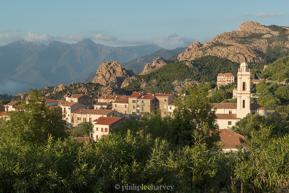 High angle view of buildings in mountain village, Soveria, Haute-Corse, Corsica, France