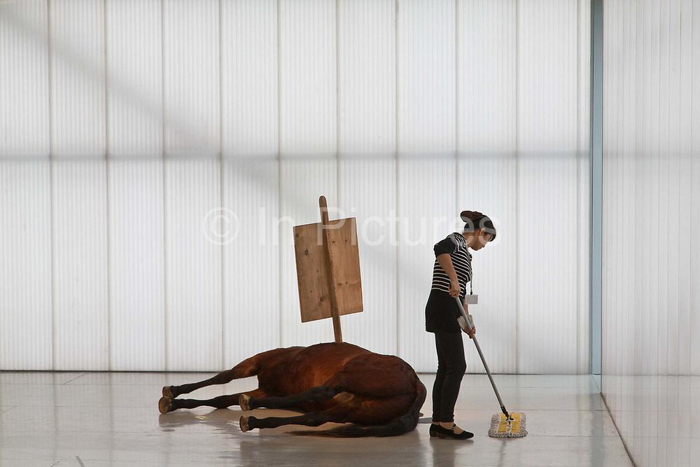 Maurizio Cattelan's Untitled on display at the Sifang Art Museum in Nanjing, Jiangsu Province, China on 02 November, 2013.