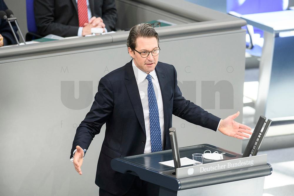 05 MAR 2021, BERLIN/GERMANY:<br /> Andreas Scheuer, CSU, Bundesverkehrsminister, haelt eine Rede, waehrend einer Bundestagsdebatte, Plenum, Reichstagsgebaeude, Deutscher Bundestag<br /> IMAGE: 20210305-01-0