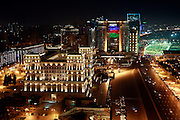 The House of Government building as well as almost every Azeri building get lightened at night.  Azeri GDP grew 41.7% in the first quarter of 2007, possibly the highest of any nation worldwide, as the country economy completed its post-Soviet transition into a major oil based economy.<br /> Baku was awarded the right to host of the first European Games, a multi-sport event.