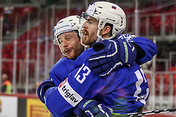 Jan Urbas of Slovenia and Miha Verlic of Slovenia celebrate after goal during Ice Hockey match between National Teams of Kazakhstan and Slovenia in Round #4 of 2018 IIHF Ice Hockey World Championship Division I Group A, on April 27, 2018 in Arena Laszla Pappa, Budapest, Hungary. Photo by David Balogh / Sportida