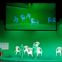 Picture shows : Stagehands dressed in green are hidden due to the 'green screen'..Picture  ©  Drew Farrell Tel : 07721 -735041..A new Scottish Opera production of  Rossini's 'The Italian Girl in Algiers' opens at The Theatre Royal Glasgow on Wednesday 21st October 2009..(Soap) opera as you've never seen it before.Tonight on Algiers.....Colin McColl's cheeky take on Rossini's comic opera is a riot of bunny girls, beach balls, and small screen heroes with big screen egos. Set in a TV studio during the filming of popular Latino soap, Algiers, the show pits Rossini's typically playful and lyrical music against the shoreline shenanigans of cast and crew. You'd think the scandal would be confined to the outrageous storylines, but there's as much action off set as there is on.....Italian bass Tiziano Bracci makes his UK debut in the role of Mustafa. Scottish mezzo-soprano Karen Cargill, who the Guardian called a 'bright star' for her performance as Rosina in Scottish Opera's 2007 production of The Barber of Seville, sings Isabella..Cast .Mustafa...Tiziano Bracci.Isabella..Karen Cargill.Lindoro...Thomas Walker.Elvira...Mary O'Sullivan.Zulma...Julia Riley.Haly...Paul Carey Jones.Taddeo...Adrian Powter..Conductors.Wyn Davies.Derek Clarke (Nov 14)..Director by Colin McColl.Set and Lighting Designer by Tony Rabbit.Costume Designer by Nic Smillie..New co-production with New Zealand Opera.Production supported by.The Scottish Opera Syndicate.Sung in Italian with English supertitles..Performances.Theatre Royal, Glasgow - October 21, 25,29,31..Eden Court, Inverness - November 7. .His Majesty's Theatre, Aberdeen  - November 14..Festival Theatre,Edinburgh - November 21, 25, 27 ...Note to Editors:  This image is free to be used editorially in the promotion of Scottish Opera. Without prejudice ALL other licences without prior consent will be deemed a breach of copyright under the 1988. Copyright Design and Patents Act  and will be subject to payment or legal action, where appropriat