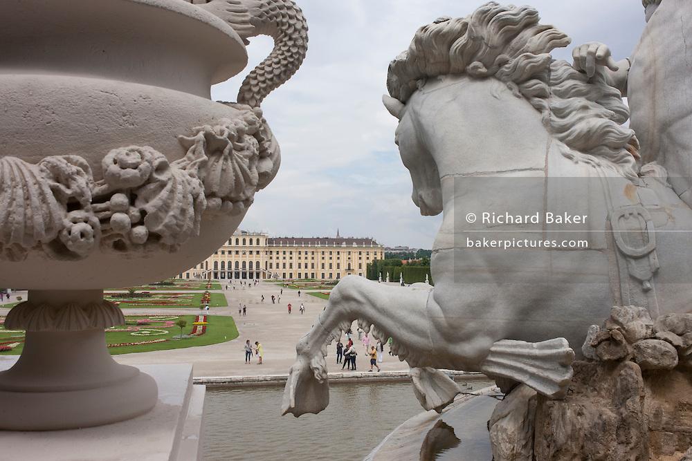 Features of the Neptune Fountain at Schloss Schonbrunn, in Vienna, Austria, EU.