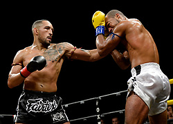 October 6, 2018 - Mashantucket, CT, U.S. - MASHANTUCKET, CT - OCTOBER 06: Chip Moraza-Pollard (red tape) takes on Remy Vectol (blue tape) in a World Cruiserweight Title bout on October 06, 2018 at Lion Fight 47 at the Fox Theater of Foxwoods Casino in Mashantucket, Connecticut. Chip Moraza-Pollard defeats Remy Vectol via tko of round 3. (Photo by Williams Paul/Icon Sportswire) (Credit Image: © Williams Paul/Icon SMI via ZUMA Press)