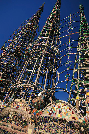 Watts Towers of Simon Rodia, a popular tourist attraction in Watts Los Angeles, Southern California, USA