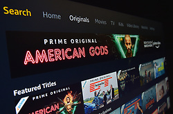 Stock photo of a page from amazon video, available on a smart television.