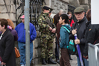 armed members of the defense forces on duty at the wreath laying ceremony in The Garden of Remebrance on Saturday.<br />Photo: Tony Gavin 26/3/2016
