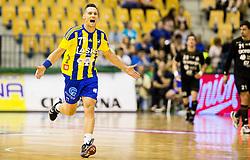 Luka Zvizej of Celje reacts during handball match between RK Celje Pivovarna Lasko and RK Gorenje Velenje in Last Round of 1. Liga NLB 2016/17, on June 2, 2017 in Arena Zlatorog, Celje, Slovenia. Photo by Vid Ponikvar / Sportida