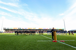 General View during the act of Remembrance before kick off - Rogan/JMP - 10/11/2019 - RUGBY UNION - Sandy Park - Exeter, England - Exeter Chiefs v Bristol Bears - Gallagher Premiership.