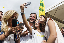 October 5, 2018 - Rome, Italy - Deputy Prime Minister and Minister of Interior Matteo Salvini takes a selfie with his supporters at a Coldiretti's initiative, the major representative organisation of Italian farmers, in Rome, Italy, on October 05, 2018. (Credit Image: © Michele Spatari/NurPhoto/ZUMA Press)
