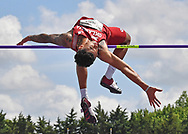 Vernon Turner of Oklahoma competes in the high jump during the Big 12 Outdoor Track & Field Championship at R.V. Christian Track & Field Complex in Manhattan, Kansas.