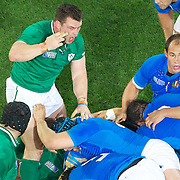 Ireland's Cian Healy during the eye gauging incident during the Ireland V Italy Pool C match during the IRB Rugby World Cup tournament. Otago Stadium, Dunedin, New Zealand, 2nd October 2011. Photo Tim Clayton...
