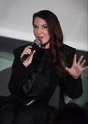 © Licensed to London News Pictures. 04/10/2017. London, UK. Marina Abramovic at 'Artist Talks' hosted by Fondation Beyeler and UBS. Held at the Serpentine Galleries, the event heralds the start of Frieze Art Week. Photo credit: Peter Macdiarmid/LNP