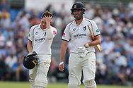 Dominic Sibley of Warwickshire and Rob Yates of Warwickshire leave the pitch unbeaten at tea during the Specsavers County Champ Div 1 match between Yorkshire County Cricket Club and Warwickshire County Cricket Club at York Cricket Club, York, United Kingdom on 18 June 2019.