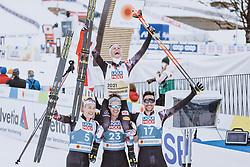 04.03.2021, Oberstdorf, GER, FIS Weltmeisterschaften Ski Nordisch, Oberstdorf 2021, Herren, Nordische Kombination, Einzelbewerb, Siegerpräsentation, im Bild v.l.: Mario Seidl (AUT), Lukas Klapfer (AUT), Weltmeisterin und Goldmedaillengewinner Johannes Lamparter (AUT), Lukas Greiderer (AUT) // f.l.: Mario Seidl of Austria Lukas Klapfer of Austria World champion and gold medalist Johannes Lamparter of Austria Lukas Greiderer of Austria during the winner presentation for the men Nordic combined Single of FIS Nordic Ski World Championships 2021 in Oberstdorf, Germany on 2021/03/04. EXPA Pictures © 2021, PhotoCredit: EXPA/ Dominik Angerer