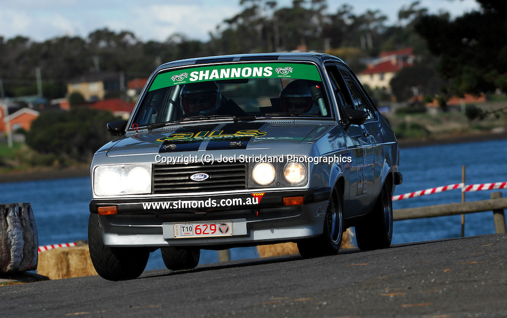 #629 - Nicholas Ellis & Travis Lacey - 1980 Ford Escort RS2000.Prologue.George Town.Targa Tasmania 2010.27th of April 2010.(C) Joel Strickland Photographics.Use information: This image is intended for Editorial use only (e.g. news or commentary, print or electronic). Any commercial or promotional use requires additional clearance.