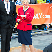 Willie Geist as Vincent Vega and Jenna Bush Hager as her grandmother, Barbara Bush during the annual Halloween Episode of NBC's The Today Show in New York City.