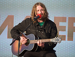 LIVERPOOL, ENGLAND - Monday, May 9, 2016: Liverpool musician Dave McCabe of the Zutons at the launch of the New Balance 2016/17 Liverpool FC kit at a live event in front of supporters at the Royal Liver Building on Liverpool's historic World Heritage waterfront. (Pic by David Rawcliffe/Propaganda)