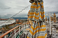 """(Image eight of eight). Panorama of the Ensenada harbor in Mexico on a grey and raining day from the deck of the MV World Odyssey. The other cruse ship is the Carnival Imagination. Once all of the students, faculty, staff, and life long learners were aboard we would be ready to begin the 102 day """"round the world"""" Semester at Sea Spring 2016 Voyage. Composite of eight images taken with a Nikon N1 V3 camera and 10-30 mm lens (ISO 200, 10 mm, f/11, 1/250 sec). Panorama stitched using AutoPano Giga Pro."""