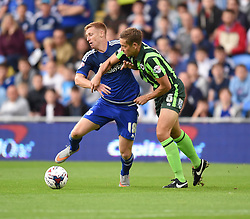 Eoin Doyle of Cardiff City mussels with Paul Robinson of AFC Wimbledon - Mandatory by-line: Paul Knight/JMP - Mobile: 07966 386802 - 11/08/2015 -  FOOTBALL - Cardiff City Stadium - Cardiff, Wales -  Cardiff City v AFC Wimbledon - Capital One Cup