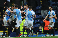 GOAL CELEBRATION - Blackburn Rovers' Joshua King (left) celebrates scoring his sides fourth goal with team-mates<br /> <br /> Photographer Kevin Barnes/CameraSport<br /> <br /> Football - The FA Cup Fifth Round - Blackburn Rovers v Stoke City - Saturday 14th February 2015 -  Ewood Park - Blackburn<br /> <br /> © CameraSport - 43 Linden Ave. Countesthorpe. Leicester. England. LE8 5PG - Tel: +44 (0) 116 277 4147 - admin@camerasport.com - www.camerasport.com