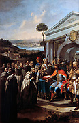 Bela III (c1148-1196) king of Hungary from 1172, founding a Cistercian (White Friars) monastery at Szentgotthard, Hungary in 1183. Centre left is the Baroque monastery built 1740-1749. Stephan Dorfmeister (c1729-1797) Hungarian painter.
