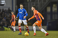 Portsmouth Forward, Brett Pitman (8) closes down Northampton Town Midfielder, Matt Grimes (29) during the EFL Sky Bet League 1 match between Portsmouth and Northampton Town at Fratton Park, Portsmouth, England on 30 December 2017. Photo by Adam Rivers.