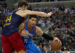 October 5, 2016 - Barcelona, Catalonia, Spain - Ante Tomic and Joffrey Lauvergne in action during the NBA Global Games match between FC Barcelona and Oklahoma City Thunder at Palau Sant Jordi in Barcelona, Spain on October 5, 2016. (Credit Image: © Miquel Llop/NurPhoto via ZUMA Press)