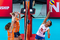 11-10-2018 JPN: World Championship Volleyball Women day 12, Nagoya<br /> Netherlands - Serbia 3-0 / Maret Balkestein-Grothues #6 of Netherlands, Yvon Belien #3 of Netherlands, Milena Rasic #16 of Serbia